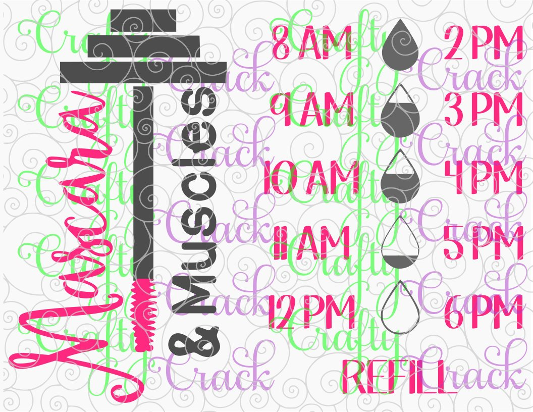 Mascara Muscles Water Bottle Decal Tracker Svg Dxf Png