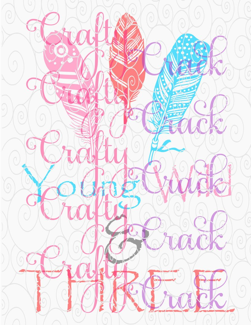 Young Wild & Three 3rd Birthday Boho Feathers SVG, DXF, PNG - Digital  Download for Silhouette Studio, Cricut Design Space